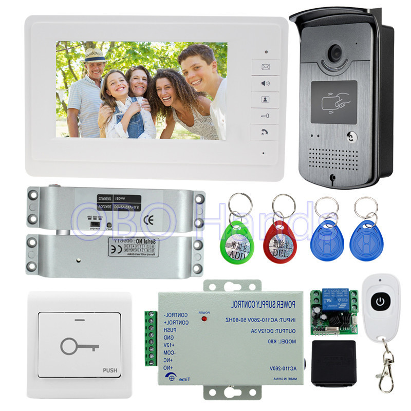 7'' wired video door phone intercom system kit set with RFID IR outdoor camera video doorbell+EM lock+power supply low price outdoor video door phone camera for wired video doorbell