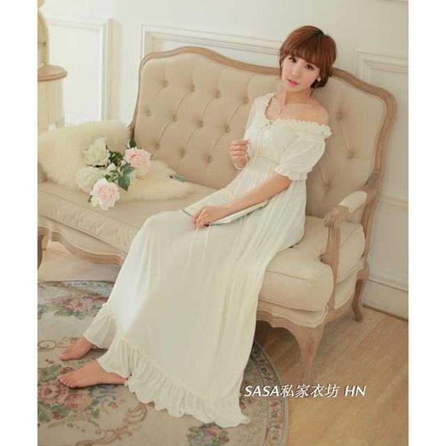 Free Shipping Women Nightgown Summer Short Sleeve White Princess Pyjama Female  Lace Round Neck Long Pijama 568638d46