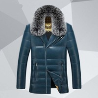 New arrival Factory direct sales leather luxury fox fur collar high quality male down pu leather jacket winter fashion coat