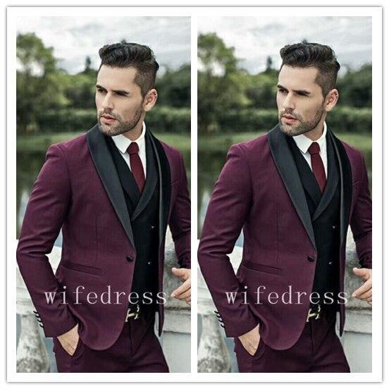 3 pièces hommes vin rouge costume Slim Fit Groomsman mariage/bal costume marié Tuxedos costume hommes costume pour mariage