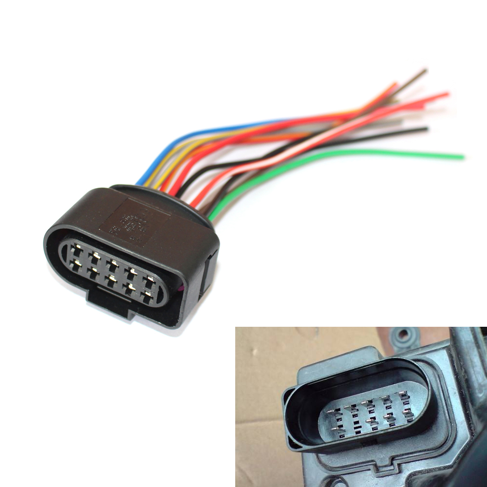 1 Headlight Wiring Pigtail Connector Plug 10pin 1J0973735 Fit For ...