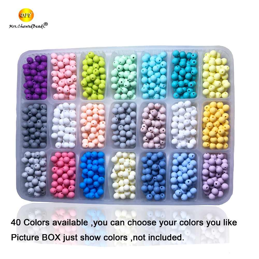 Putaran 30Pcs Longgar Silikon Beads 10Mm Bayi Teething Kalung Food Grade Teether BPA Gratis Perhiasan Baby Teether Mainan