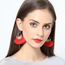цены BK Women Fashion Tassels Earrings Triangle Chain Fan-shaped Tassels Dangle Earrings Female Alloy Trendy Jewelry For Banquet