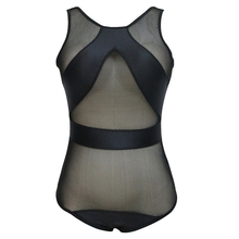 Wild Women Beach Swimming Bathing Suits High Neck Swimsuit One Piece Transparent Network Sexy Black Mesh Female Swimwear