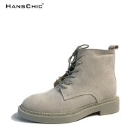 HANSCHIC 2017 New Arrival Grey Special Design PU Leather Ladies Women Casual Boots Shoes For Female