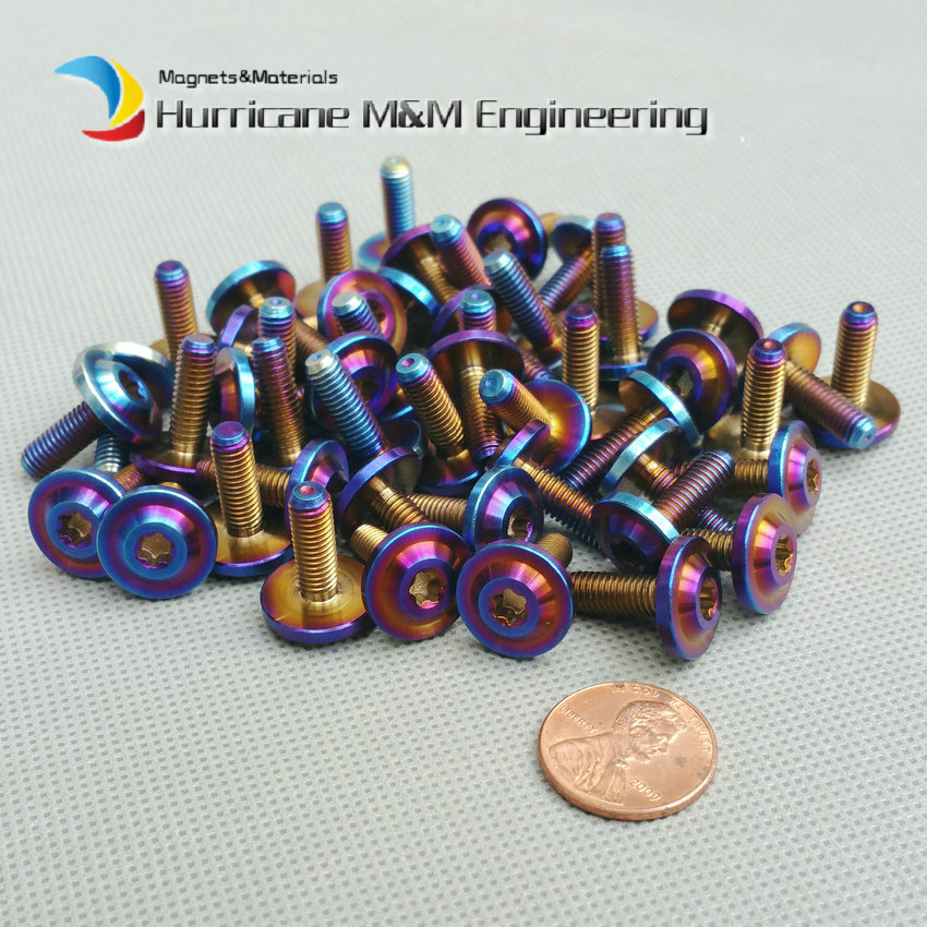 1lot M5 Disc Head Bolt for Bike and Motocycle DIY Torx Socket Titanium Bolts Burned Blue Ti Bolt Screws Ti Fastener odeon light бра odeon light cruz 2413 1w