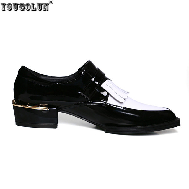 YOUGOLUN Genuine Leather Black White Women Oxfords England Patent leather Ladies Buckle Shallow Tassel pointed toe Oxford shoes