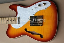. Free shipping hot new Semi-hollow electric guitar models TL single F-hole gold metal guitar