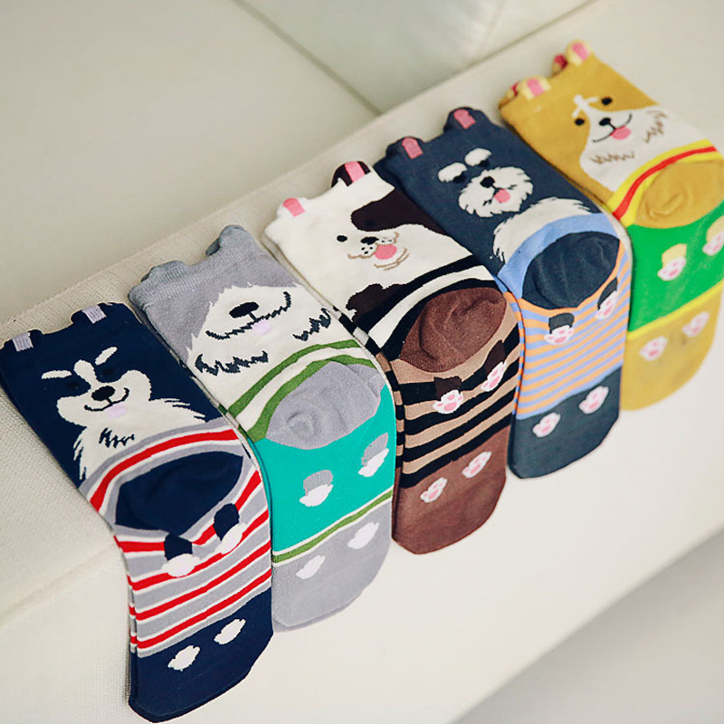 Fashion 3D Dog Socks Kawaii Cartoon Socks Lovely Puppy Cotton Women Socks Funny Golden Retriever Husky Bulldog Cotton Socks