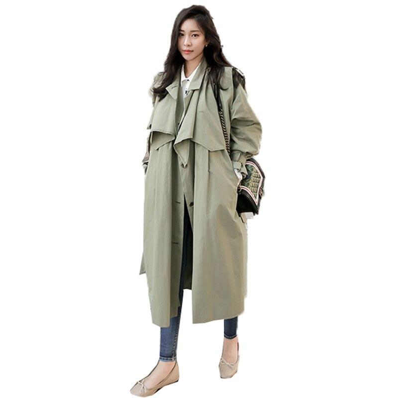 Survêtement Vêtements Army Châle Armée Trench Manteau Casual Overwear Vert 2018 Printemps vent Femmes Lâche Green Coupe Corée Ceinture Long OHqT4Zw4