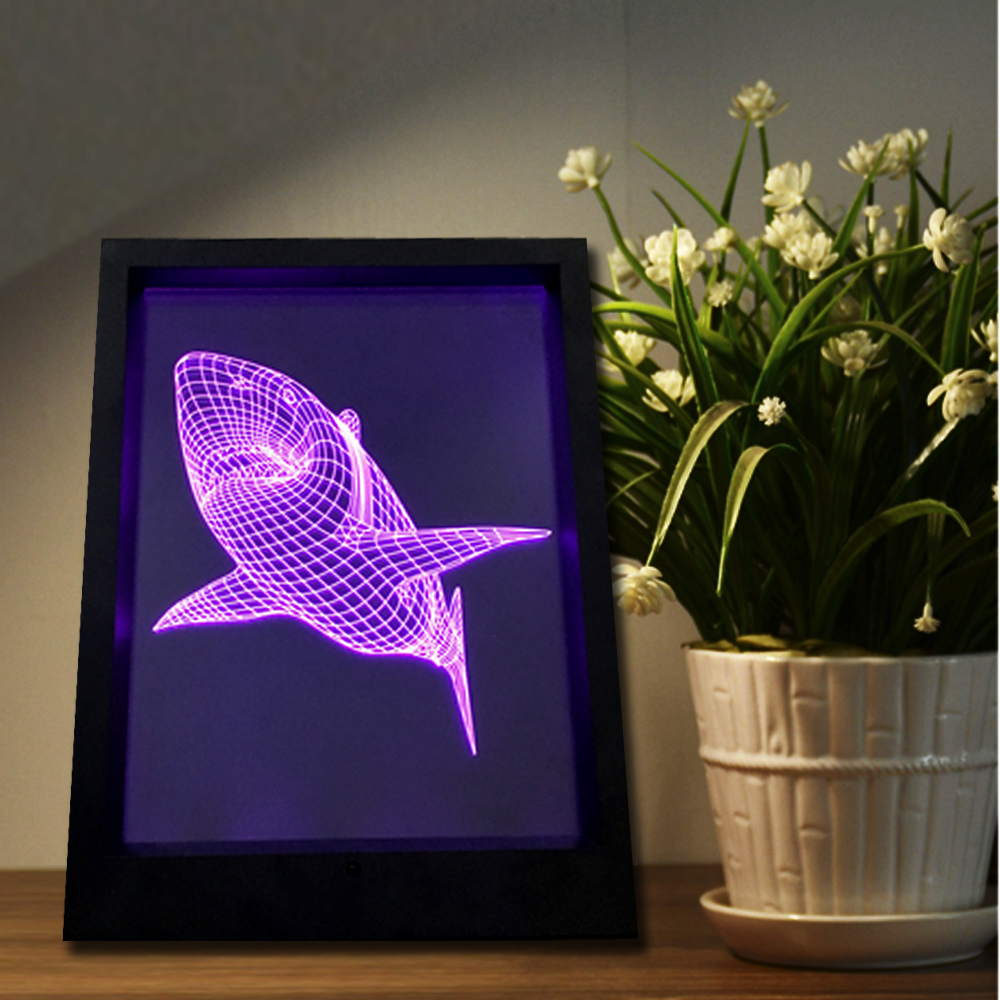 2017 new creative shark led 3d multi color night light three