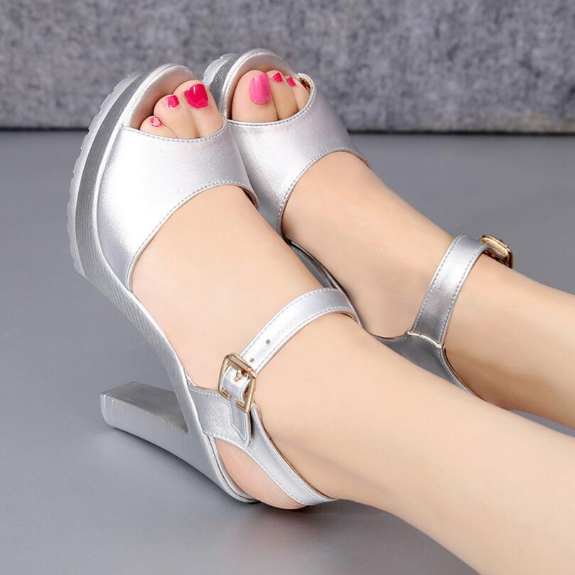 5daa341a688 D Henlu 2018 Summer Plus Size Shoes Woman Heel Sandals White Wedges Wedding Sandals  Ladies Sandal With Heels Platform Peeps Toe -in High Heels from Shoes on ...