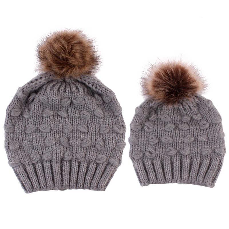 חורף חם כובע מכירה לוהטת משפחת אמא בת כובעים חמוד תינוקות תינוק ילד ילדה סרוג כובע כובעי אמא תינוק כובעי יילוד כובע כפה