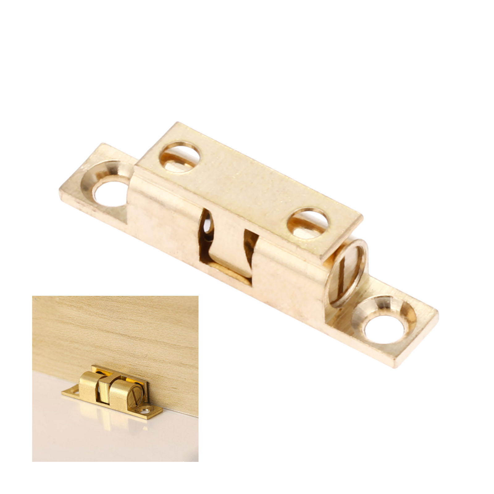 DRELD 1pc 42mm Pure Copper Double Ball Latch Clip Lock Cabinet Door Catches Touch Beads Bronze Brass Color Hardware Accessories