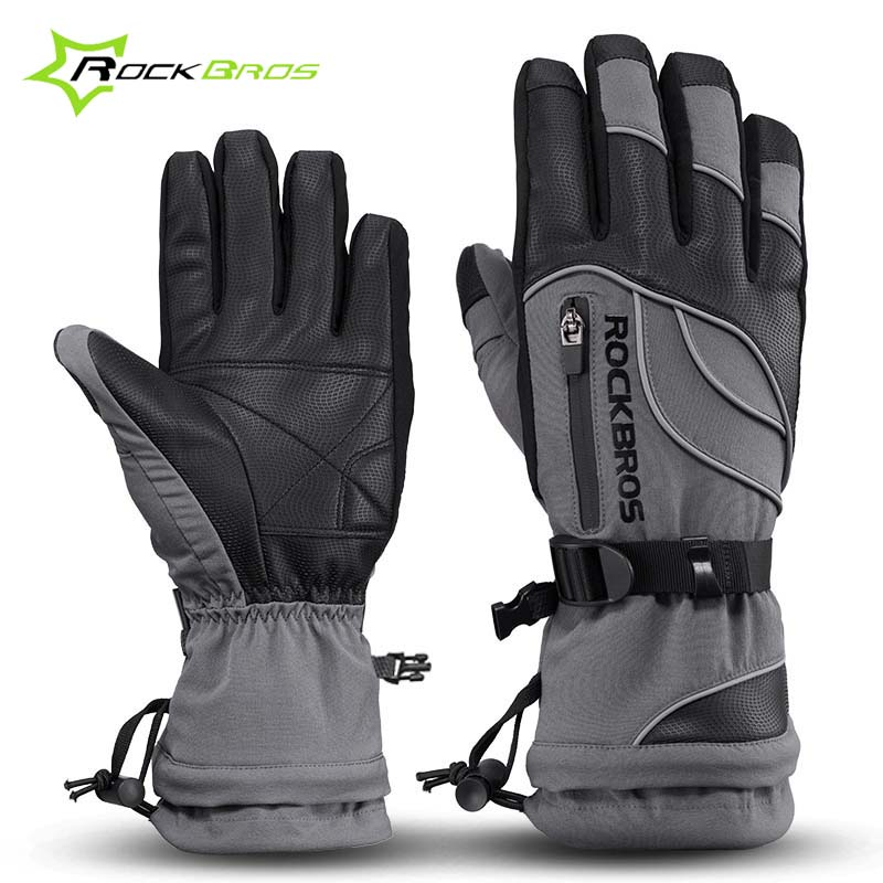 Rockbros Waterproof Outdoor Sport Bicycle Bike Winter <font><b>Gloves</b></font> For Skiing Snowboard Motorcycle Snowmobile Windproof Cycling <font><b>Gloves</b></font>