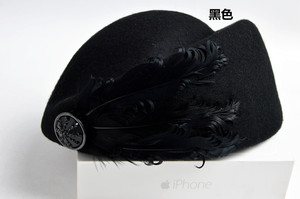 Image 5 - 2020新しい高級羽スチュワーデスキャップfedora帽子女性のファッションソリッドウールヴィンテージ帽子の女性英国スタイルのベレー帽