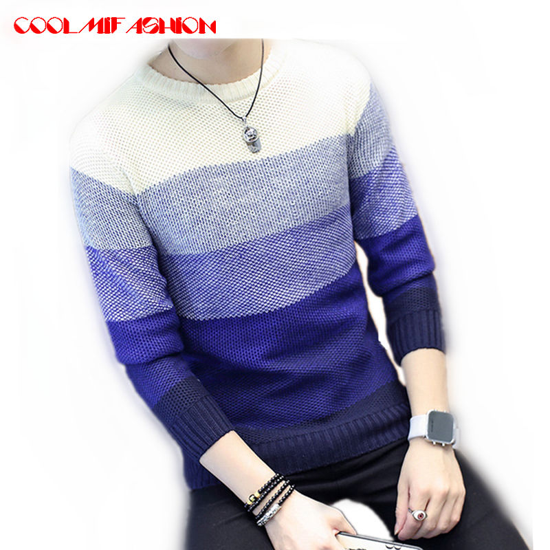 CooLMiFashion Brand Sweaters Men Spring Autumn Patchwork Knitted Quality Pullover Men O-neck Casual Sweater chompas para hombre