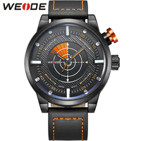 WEIDE New Casual Watch Men Wristwatch Genuine Leather Strap 30 Meters Waterproof Relogio Masculino With Gift