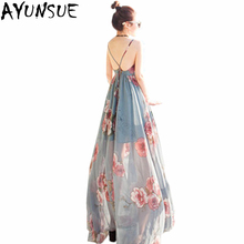 AYUNSUE Summer Dress Women Sex 2018 Floral Print Sleeveless Female Party  Dresses Holiday Long Boho Beach d5d99eaabaf0