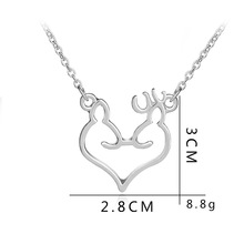 Love heart Elk Head Small Fresh Art  Elf Antlers pendant Necklace Animal Fox Christmas Deer Lucky Amulet Jewelry