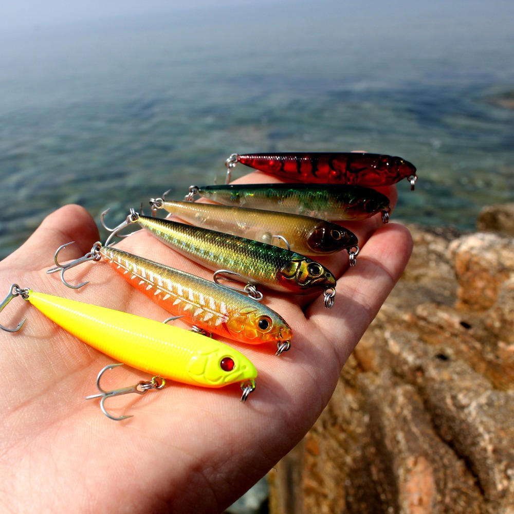 wobblers Super Quality 8 Colors 60mm Hard Bait Minnow Crank Popper Stik Fishing lures Bass Fresh Salt water 10# VMC hooks
