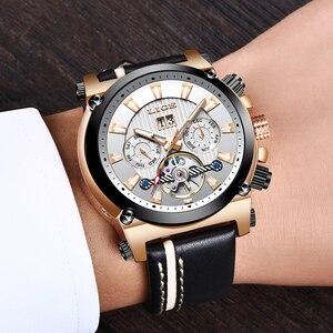 Image 5 - 2019 New LIGE Fashion Men Watches Top Brand Luxury Automatic Mechanical Watch Men Casual Leather Waterproof Sport WristWatch+Box