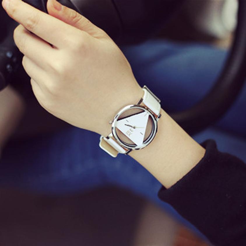 Часы женские наручные кварцевые современные роскошные модные выдолбленные треугольные циферблат Повседневный подарок для женщин часы reloj mujer - Цвет: White