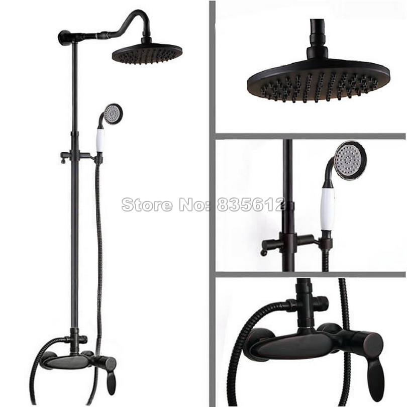 Bathroom Retro Shower Set Faucet W/ Black Oil Rubbed Bronze Mixer Tap Single Handle + Handheld Shower Wall Mounted Wrs726