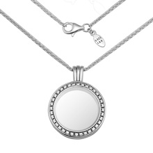 Medium FANDOLA floating locket Pendant Necklace 100% 925 Sterling Silver Jewelry Free Shipping