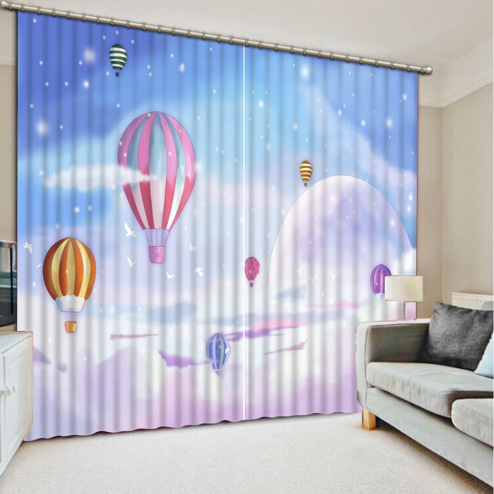 Japanese panel curtains - Free Shipping Japanese Curtains Blue Sky White Clouds Balloon Living Room Curtain New Hotel Decoration Window
