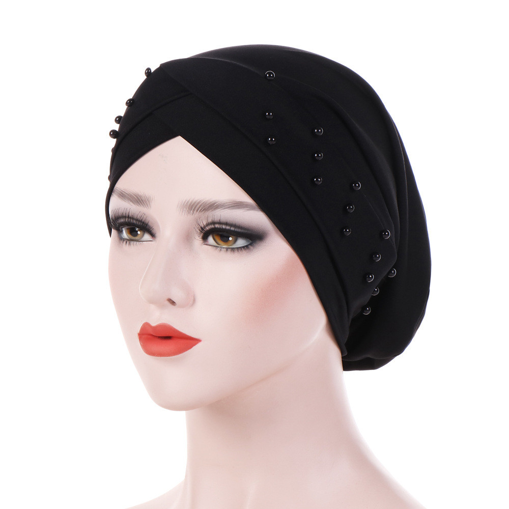 Women Beading India Hat Muslim Ruffle Cancer Chemo Beanie Turban Polka Head Wrap hats headpiece