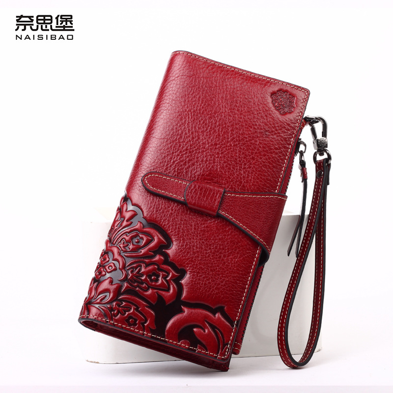 NAISIBAO women genuine leather wallet ladies brand purse luxury chinese style clutch 2017 vintage designer long wallets naisibao 2017 luxury genuine leather women long wallet brand purse ladies clutch vintage designer printing wallets chinese style