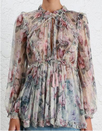 Vintage As Femmes Gland Cravate Longues Mince Manches Floral Avec Sexy Blouse 100 Picture À Printemps Show Soie Tops D'été Cou Volants 4gcqnXUI