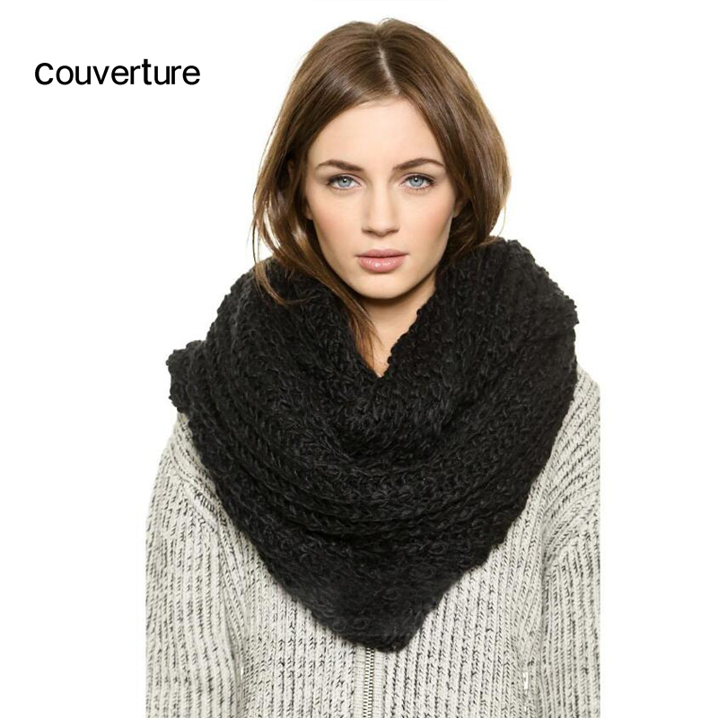 Couverture Ring Circle Scarf Women Winter Infinity Scarves Neck Circle Solid Scarf Ladies Warm Autumn Soft Knitted Snood Scarf