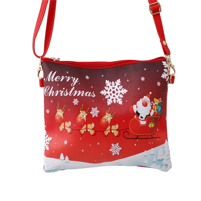 New Christmas Theme Kids Crossbody Bag Cartoon Elk Snowman Children Shoulder Handbag Party Bags
