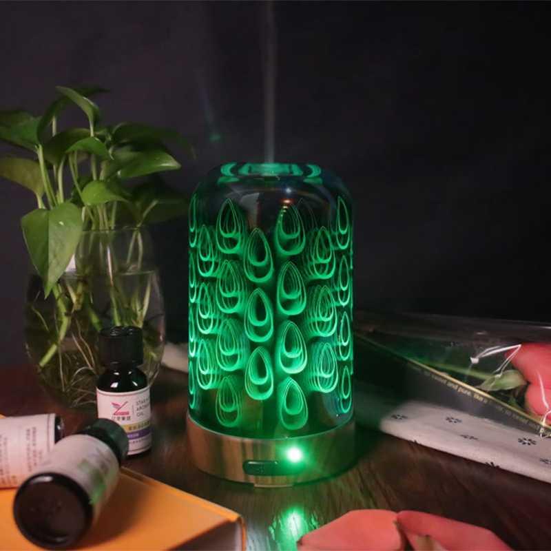 100 мл ароматерапевтические эфирные масла диффузор Электрический нагрев увлажнитель воздуха с рисунком павлина 7 цветов Изменение светодиодные домашние ночные Lig