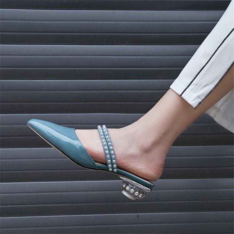 Ouqinvshen Kristal Gaya Aneh Mules Sepatu Wanita Plus Ukuran 33-42 - Sepatu Wanita - Foto 5