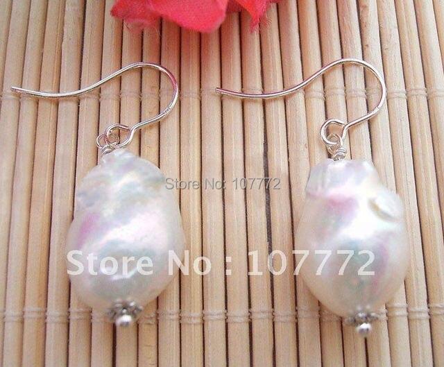 20MM Nucleared keshi Pearl Earring-925 Sliver Hook    free+ shippment