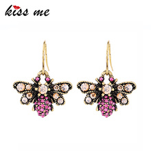 KISS ME Champagne Red Glass Crystal Earrings for Party 2018 New Zinc Alloy Vintage Bee Drop Earrings Fashion Jewelry new bee nb 7 earbuds red