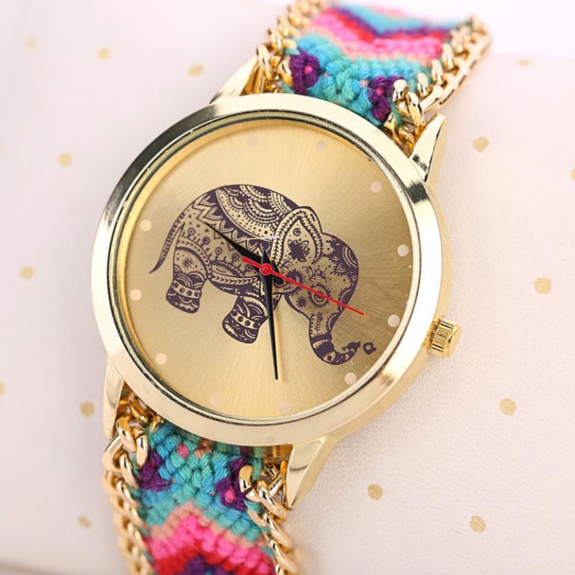 Boho Style Watches Women 2017 Fashion Women Clock Elephant Pattern Weaved Rope Band Bracelet