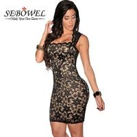 2015 Plus Size Women Clothing Summer Fall Sleeveless Nude Illusion Lace Dress Elegant Vintage Short Dresses