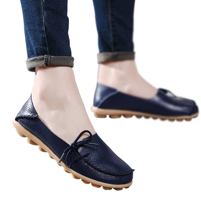 Large size leather Women shoes flats mother shoes girls lace-up fashion casual shoes comfortable breathable women flats SDC179