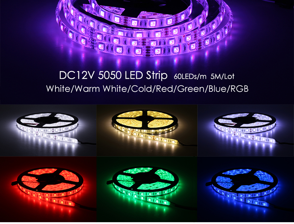 LED Strip 5050 Black PCB 12V Flexible LED Light 60LED//m 1m 5m RGB 5050 Strip lot