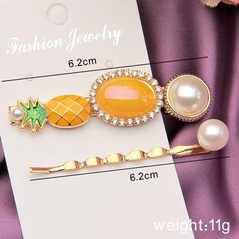 Romantic Hair Clips Sets Korea Fashion Simulated Pearl Hair Pins Barrettes Pineapple Crystal Hairgrips Women Headdress