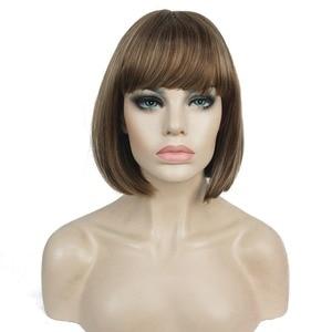 Image 1 - StrongBeauty 27 色女性のかつら合成黒/ブロンドきちんとビッグバンボブスタイル毛フルウィッグ
