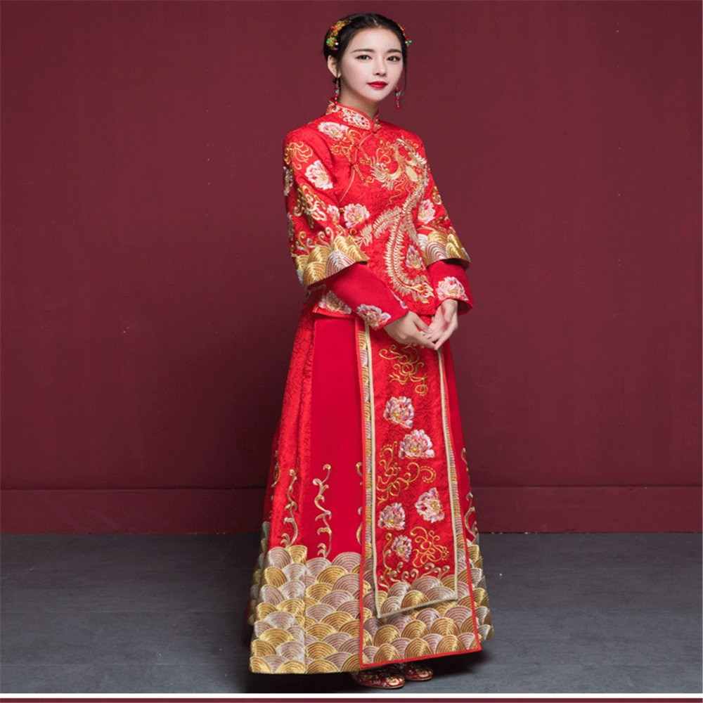 2018 XiuHe take bridal gown wedding clothes like Chinese red toast ...