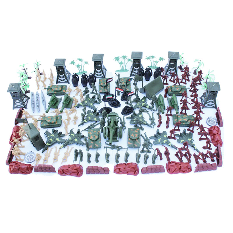 Action & Toy Figures Symbol Of The Brand 172pcs /set Wwii Nostalgic Toy Soldier Military Man Plastic Military Suit Of Model Aircraft And Tanks Scene Sand Table Mode