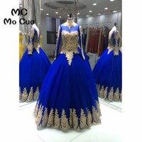 Vintage 2018 Balo Royer Mavi Balo elbiseleri Uzun Kollu Boncuklu Aplikler vestidos de fiesta Akşam Balo Parti Elbise