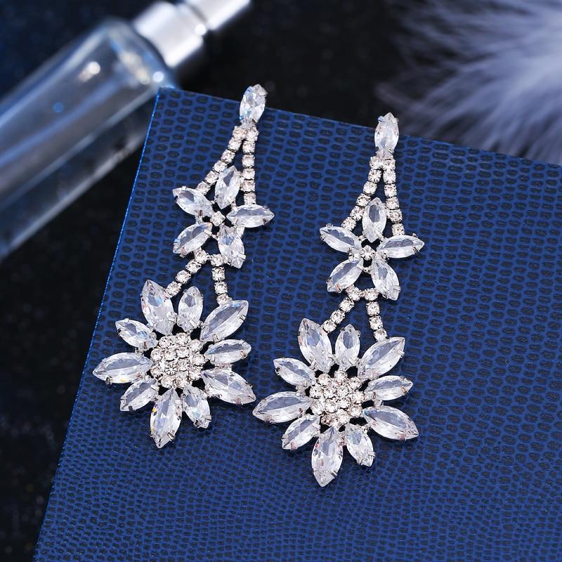 2018 Modern Big Long Dangle Drop Earrings Fashion Korean Style Wedding Bridal Costume Jewelery White Gold Color Zircon Earrings