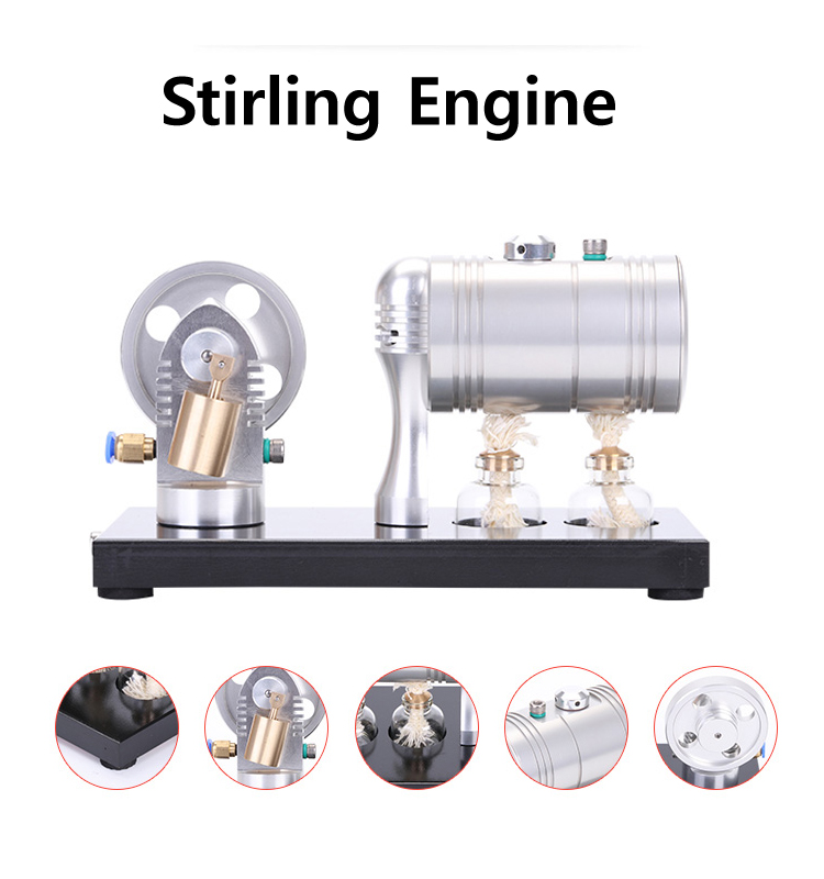 K-005 Stirling Steam Engine Model with 116ml Heating Boiler and Alcohol Lamp horizontal double cylinder steam engine model